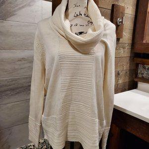 Calvin Klein Large Sweater Cream Cowl Neck Chunky